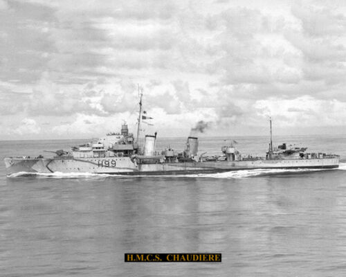 ROYAL CANADIAN NAVY DESTROYER HMCS CHAUDIERE H99 WITH BONUS STATS SHEET