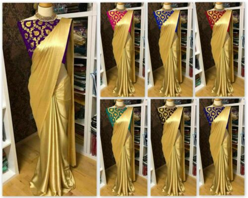 Pakistani Indian Saree Satin Georgette Gold Sari Blouse Bridal Traditional MA
