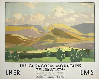 Vintage  advertising travel railway poster  A4 REPRINT Cairngorm Mts - Aviemore