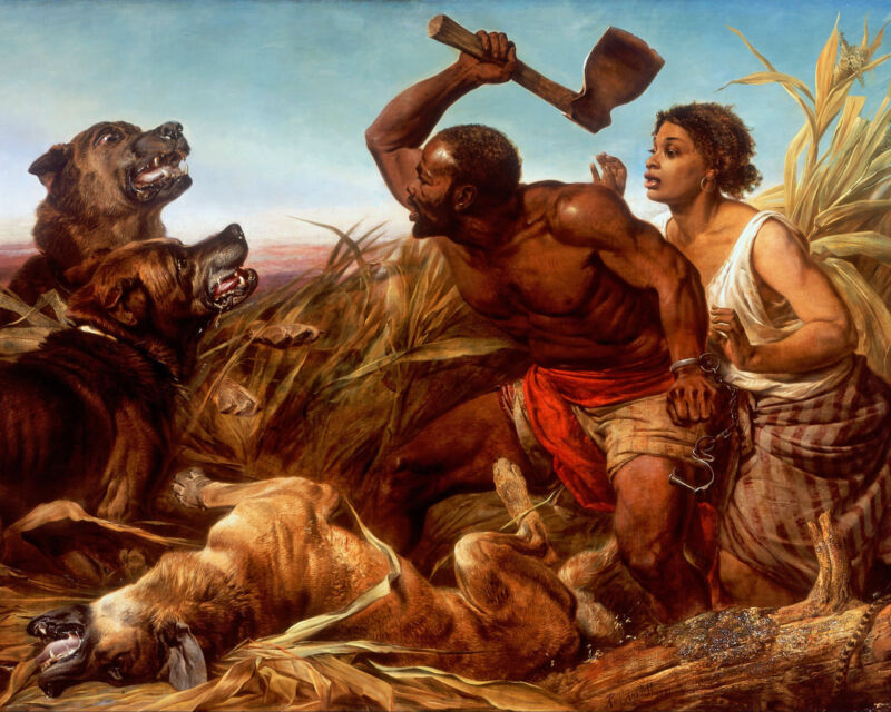 African American Free Slaves Fighting Wild Dogs w Hatchet Real Canvas Art Print