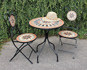 GARDEN TABLE AND 2 CHAIRS MOSAIC 60CM ROUND PATIO BISTRO TABLE FOLDING