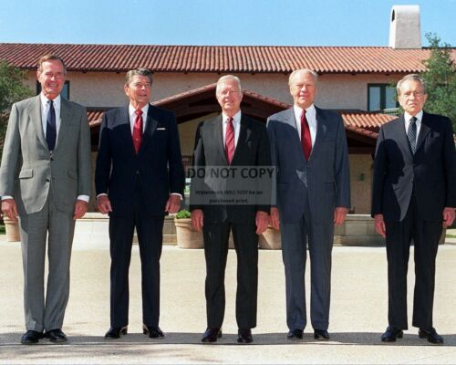 GEORGE BUSH w/ NIXON, CARTER & FORD AT REAGAN LIBRARY OPEN - 8X10 PHOTO (RT613)