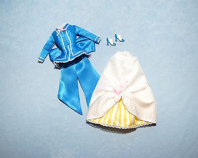SATINY Medium Blue White & Yellow BARBIE Skirt Set w/ Lace Trim & Heels