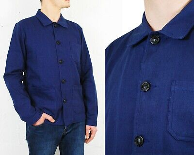 60s Style French Navy Blue Cotton Twill Canvas Chore Worker Jacket - All Sizes  Blue Cotton Twill Jacket