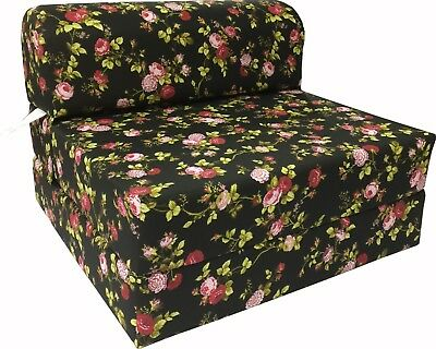 Red Roses Black Sleeper Chair Folding Foam Bed, Studio Sofa Bed, Couch 6x32x70