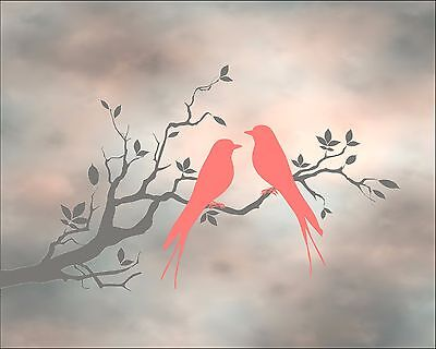 Bird Movie For Kids (Coral Gray Home Decor Birds Tree Silhouette Art Photo Print Matted)