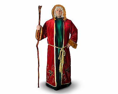 Ancient Medieval World Victorian Red Velvet Green Tunic Santa Claus Costume Suit