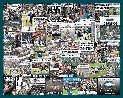 Philadelphia Eagles 2018 Superbowl Newspaper Collage Poster