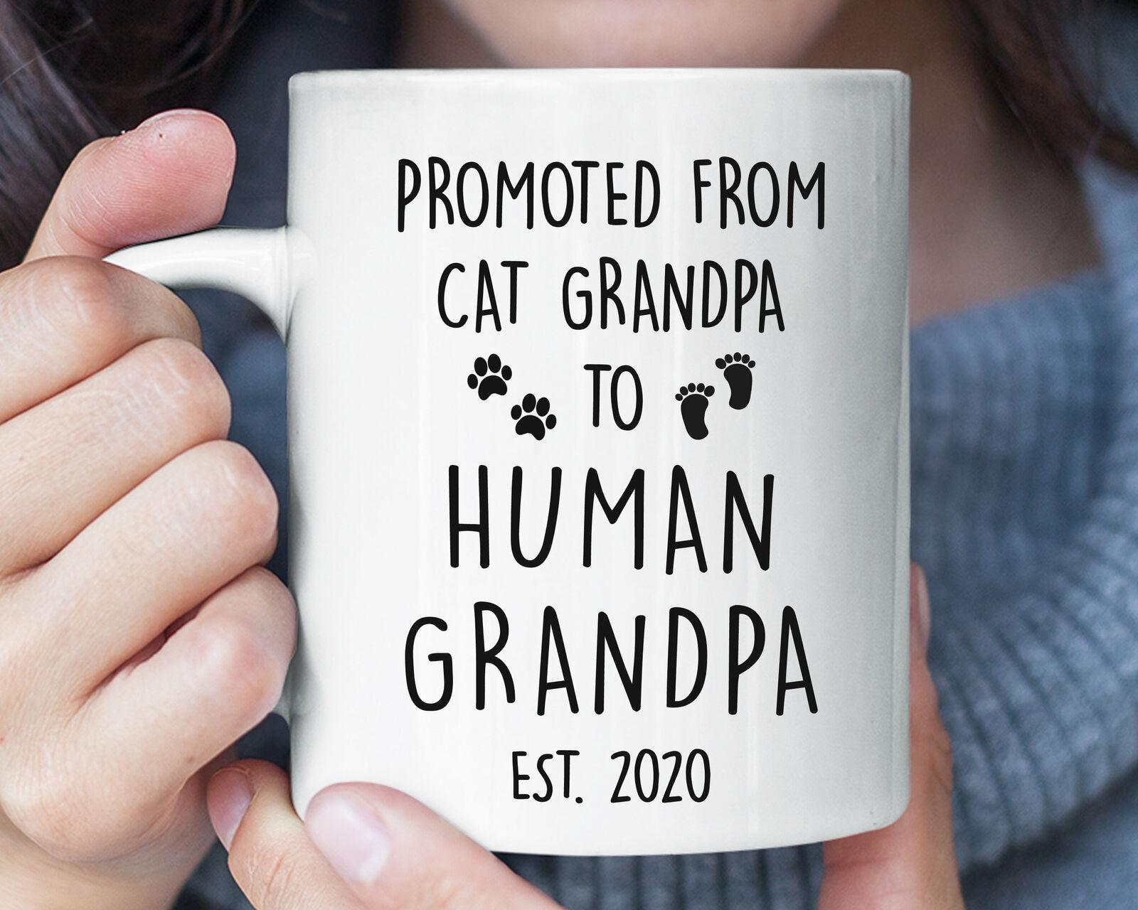 Promoted From Cat Grandpa To Human Grandpa Funny Mug Grandparent Pregnancy - $13.99