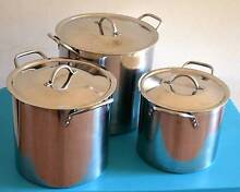STAINLESS STEEL STOCKPOT WITH LID_SET OF 3 pcs Pendle Hill Parramatta Area Preview