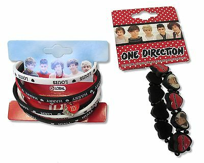 One Direction Wristband - ONE DIRECTION - SILICONE WRISTBANDS & HEART EXPANDABLE BRACELET SET NEW OFFICIAL