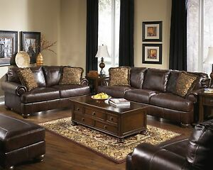 New Ashley Axiom Vintage Casual All Leather Sofa Set