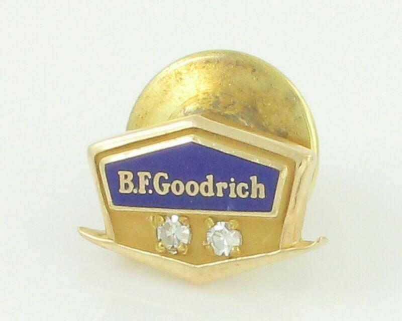 Vintage 10K Gold & Enamel BF GOODRICH SERVICE PIN w/ 2 Natural Diamonds 1.4 gr