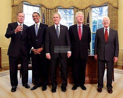 George W  Bush With Barack Obama And Former Presidents   8X10 Photo  Zy 634