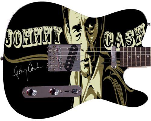 Johnny Cash Autographed Cartoon Photo Guitar
