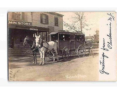 St1984   Peapack Nj Stage Coach At Pluckamin Store   Po Great Rppc  1908Pm