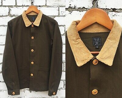 60s Style French Olive Green Cotton Twill Corduroy Chore Jacket - Various Sizes