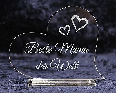 Acryl Herz mit Gravur - Beste Mama Oma Schatz - Geschenk zum Valentinstag