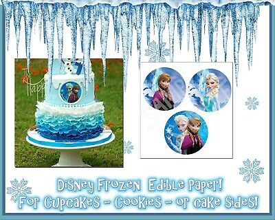 Frozen Cupcake Cake (Frozen cake topper cupcake tops picture photo sugar round circles edible)