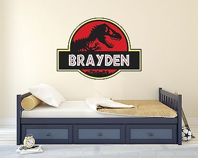 Jurassic Park Personalized Wall Decal Dinosaur Wall Decor Art Mural Vinyl Sticke - Jurassic Park Decorations