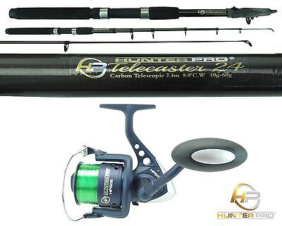 Telescopic 8ft Fishing Rod & Reel Carbon Travel Pike Bass spinning tele Rod