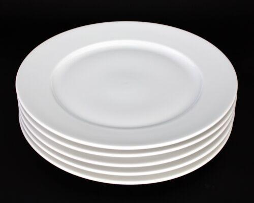 "Richard Ginori Impero Bianco White Large Round Dinner Plates 11"" Set of 5"