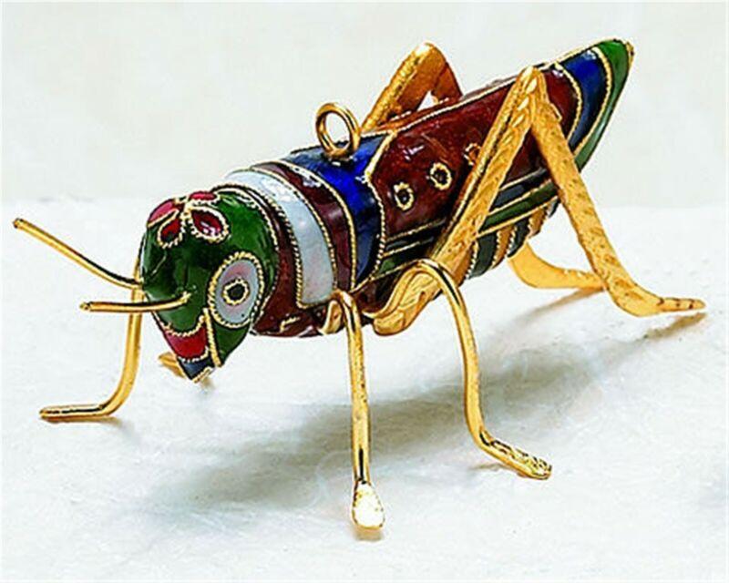 Kubla Cloisonne Grasshopper Ornament. Superb!!