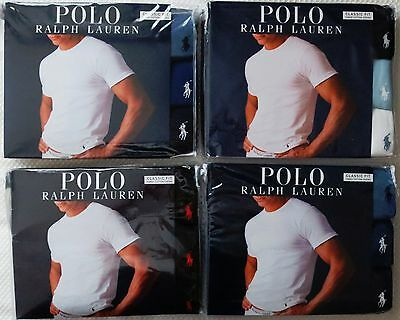 3 PACK POLO RALPH LAUREN CREW NECKS T-SHIRT CLASSIC 100% COTTON S M L XL 2XL 2 Pack Crewneck T-shirt