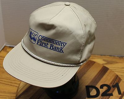 Vintage Community First Bank Hat Snapback Adjustable Beige In Good Condition D21