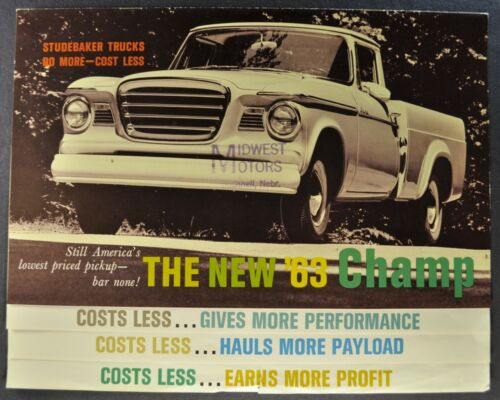 1963 Studebaker Champ Pickup Truck Catalog Sales Brochure Stake Nice Original 63