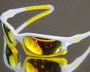 NEW OAKLEY SPLIT JACKET White/Yellow w/ Fire Iridium+Persimmon Vented Lenses