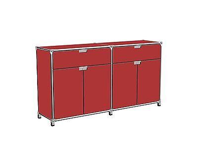System 180 Sideboard rot 2 Schübe 4 Türen Edelstahl Breite 147 Höhe 79,5 cm online kaufen