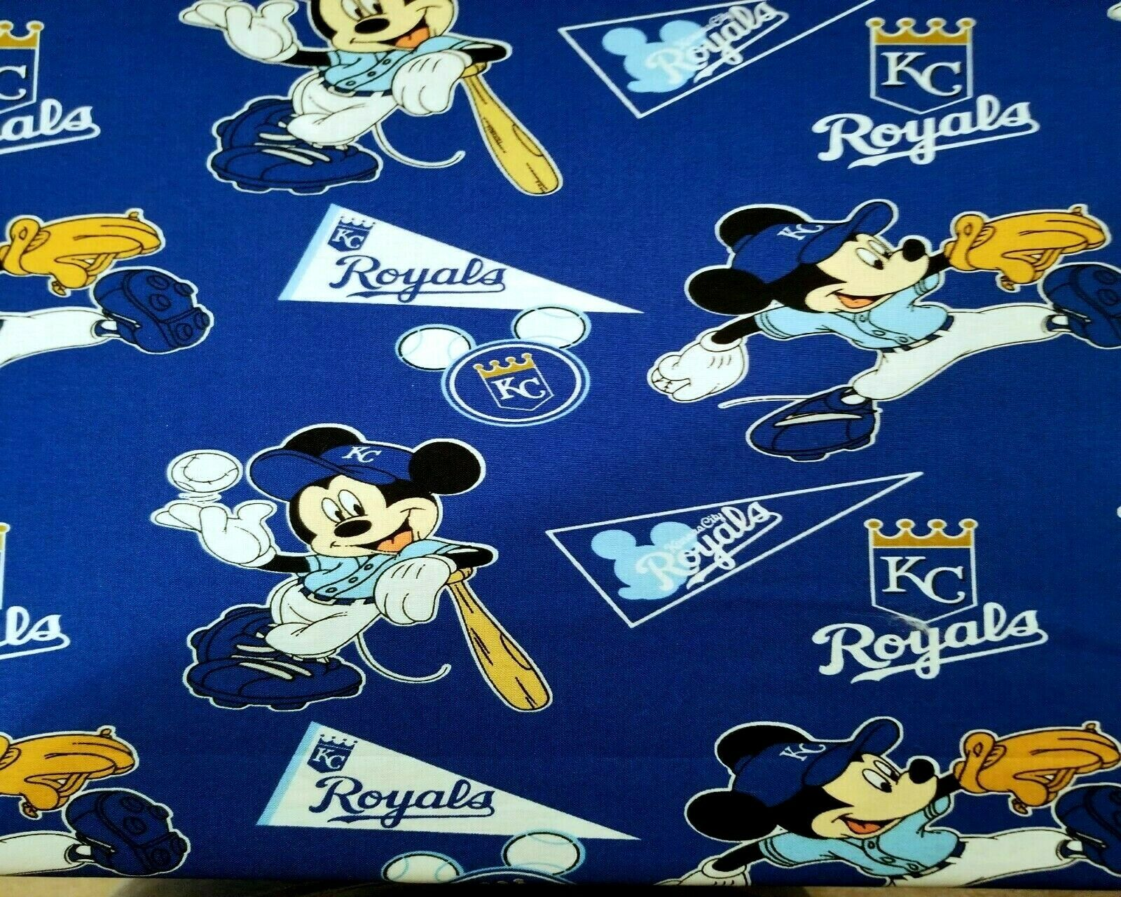 Kansas City Royals & Mickey Mouse Baseball MLB Cotton Fabric
