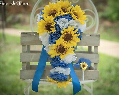BIG Cascade Blue White Rose Yellow Sunflower Wedding Bouquet & Groom Boutonniere ()