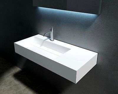 "Waterloo 35"" (Left Side) Wall Mounted Basin, Solid Surface Bathroom Vanity"
