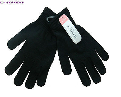 2x PAIR MAGIC WINTER WARM THERMAL GLOVES STRETCH BLACK FOR MENS WOMENS CHILDREN