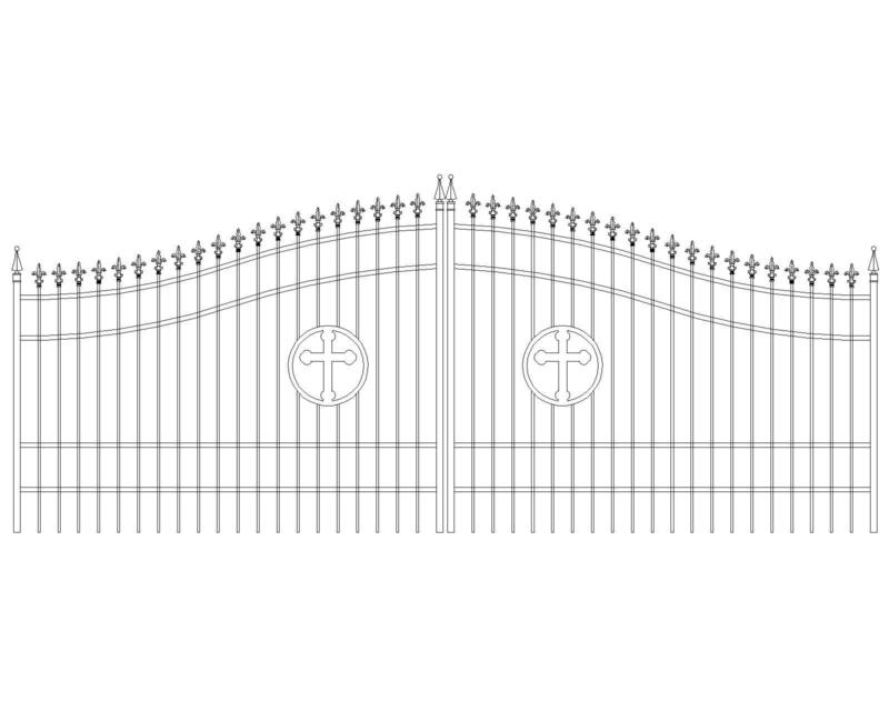 Steel - Iron Driveway Gate 16 Ft WD Dual Swing Residential Home Yard Security