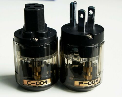 NEW P-004 Rhodium plated Pure Copper US Power Plug Socket C-004 Connector 1 pair