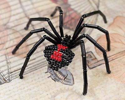 Black Widow Beaded Spider Ornament