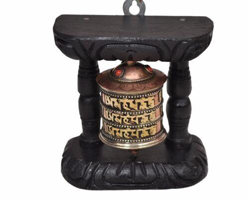 Tibetan Hand Craving Wood Copper  Om Mani Padme Hum Wall Hanging Prayer Wheel