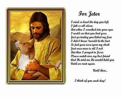 Basenji Memorial Picture w/Jesus/Poem Personalized w/Dog's Name -Pet-Loss Gift