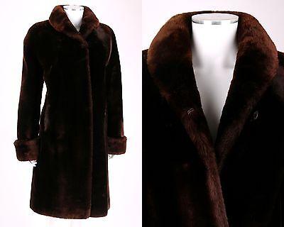 VTG 1950s MAHOGANY BROWN GENUINE MOUTON FUR SWING COAT SZ M