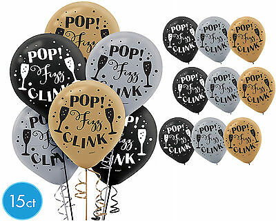 Black And Silver Party Supplies (Black Gold & Silver Pop Fizz Clink Balloons Happy New Year Party Decoration ~)