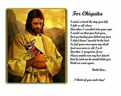 Chihuahua Memorial Picture w/Jesus/Poem Personalized w/Dog's Name-Pet Loss Gift