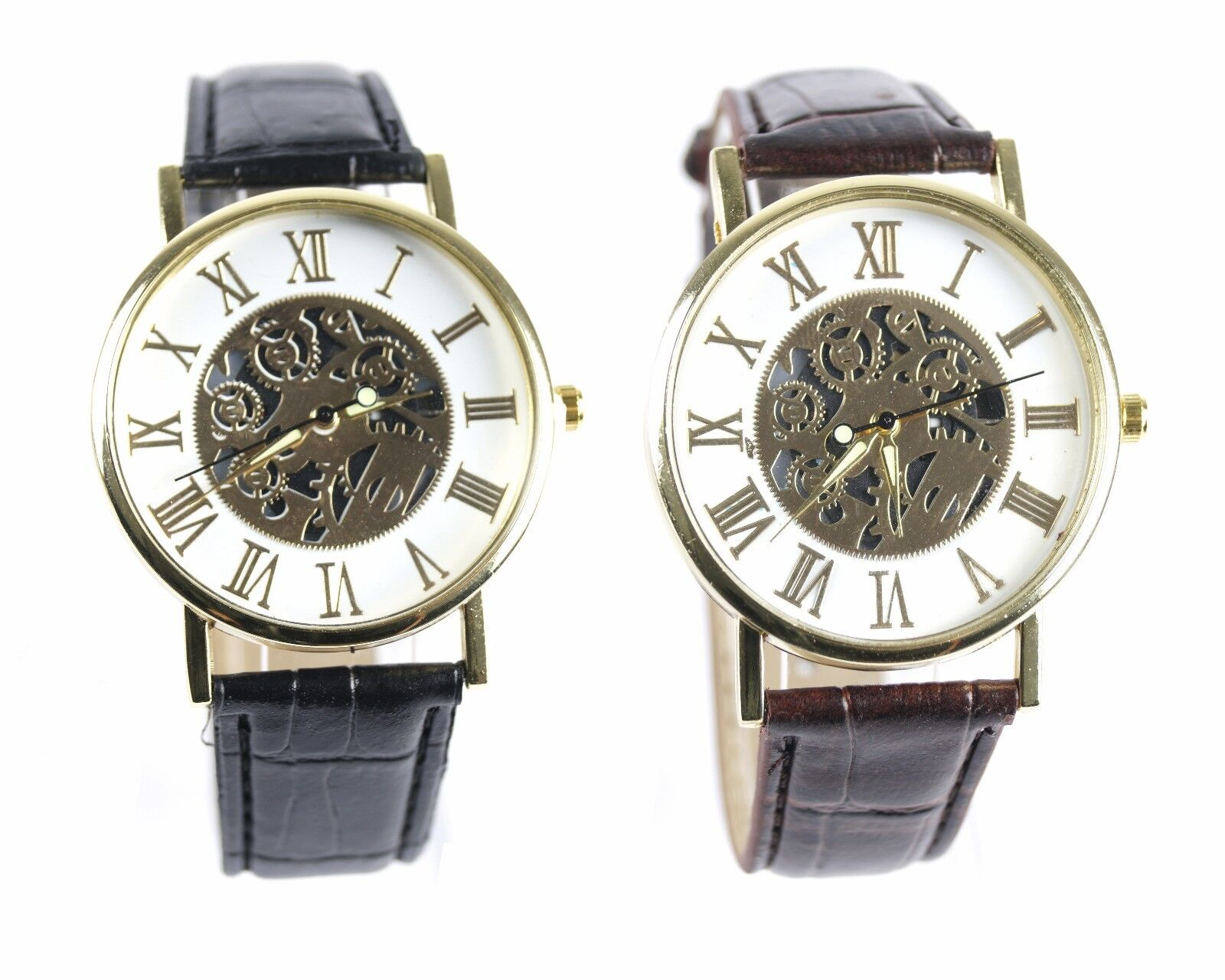 Herren Lederarmbanduhr Armbanduhr Herrenuhr Automatikuhr Männer Römische Ziffern