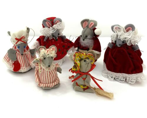 Vintage Handmade Mice Family Ornament Lot of 6  Felt Mouse Christmas Decor