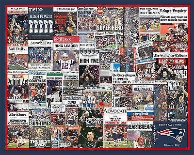 "New England Patriots 2017 Super Bowl Newspaper Collage Poster- 16x20"" Unframed"