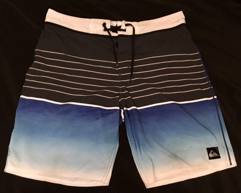 Mens Quicksilver Board Shorts Size 34 Grey Blue Striped w/ Back Pocket