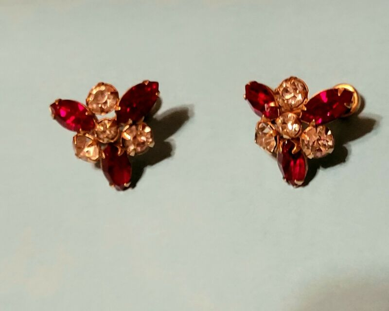 Vintage 12 K Gold Filled Earrings, Ruby Red And Clear Rhinestones, Screw...