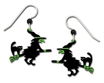 Sienna Sky Earrings Flying Witch Black Cat Broom Halloween Handmade USA 925 SS (Halloween Sky)